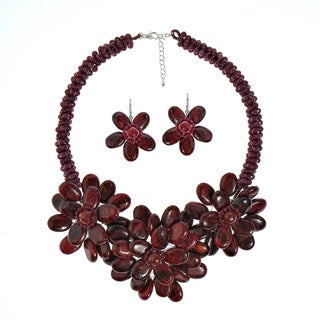 Handmade Dashing Jasper and Carnelian Blossoming Floral Jewelry Set (Thailand) - Red