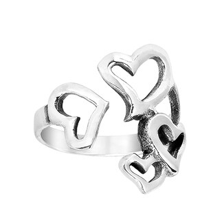 Lovely Hearts Open Front .925 Silver Ring (Thailand)