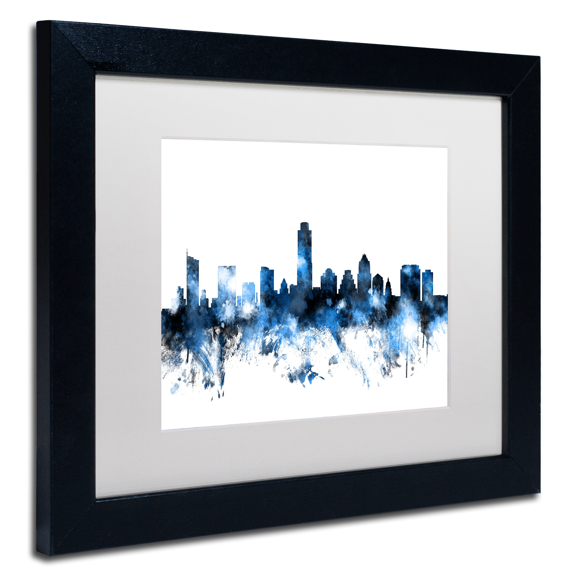 Austin City Skyline Abstract Watercolor Painting Texas 11 x 14 Art Print