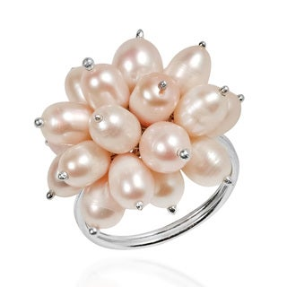Radiant Freshwater Cluster Mum Pearl Sterling Silver Ring (Thailand)