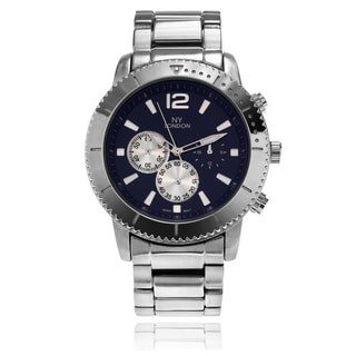 NY London Men's Round Face Textured Dial and Bezel Link Watch