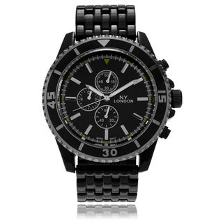 NY London Men's Round Face Tachymeter Panther Link Watch