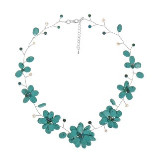 Charming Turquoise Floral Wire Handmade Necklace (Thailand)
