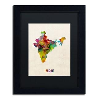Michael Tompsett 'India Watercolor Map' Black Matte, Black Framed Canvas Wall Art