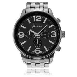 Geneva Platinum Men's Large Round Case Link Watch