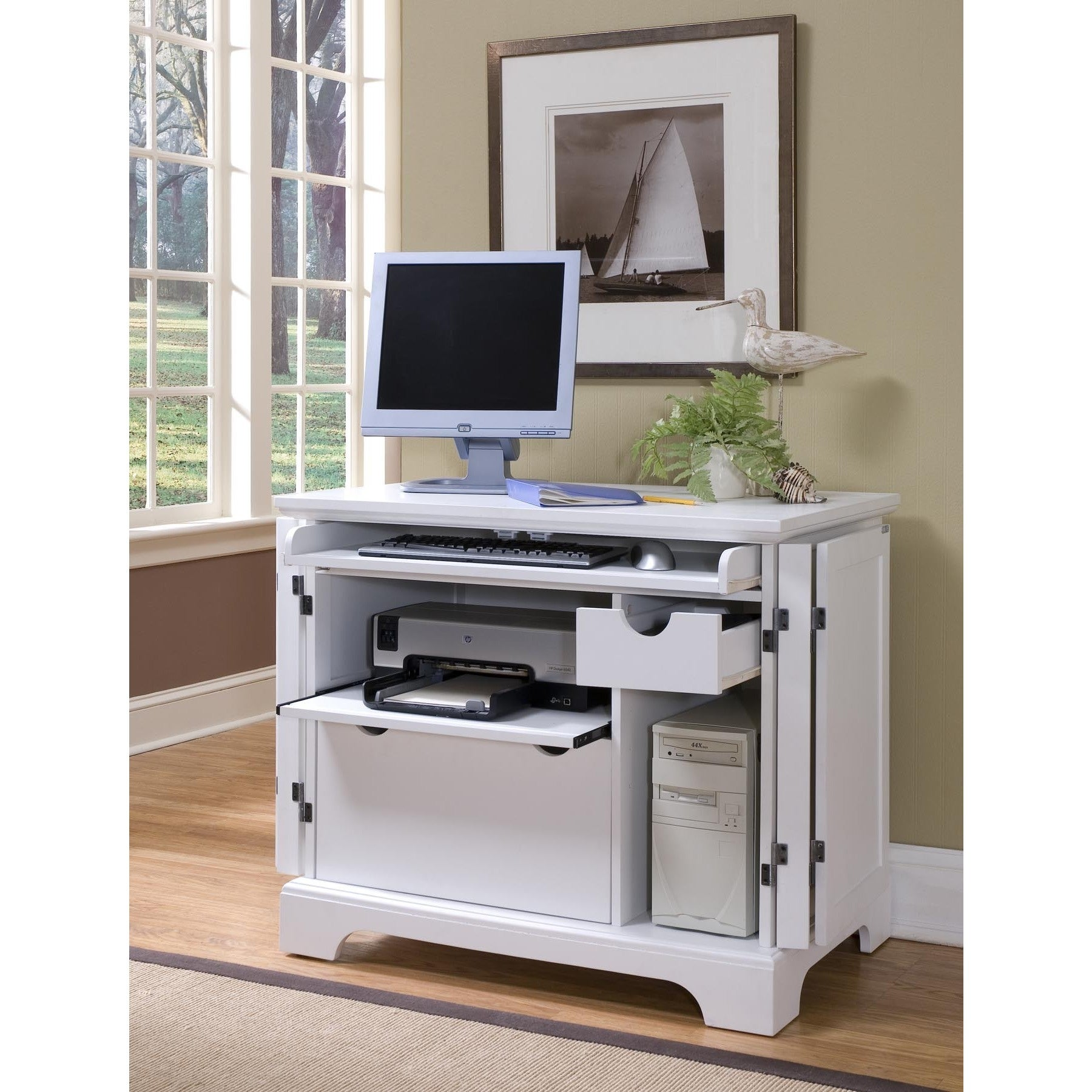 Picture of: Naples White Compact Computer Desk By Home Styles Overstock 10898533