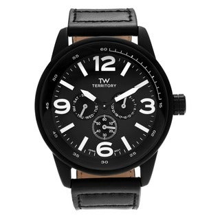Territory Men's Matte Black Chronograph Dial Genuine Leather Strap Watch