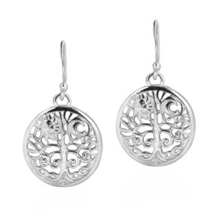 Handmade Sun and Moon Tree of Life .925 Sterling Silver Dangle Earrings (Thailand)