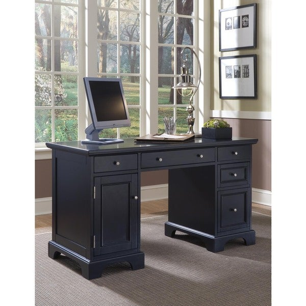 shop bedford black pedestal desk free shipping today overstock 10898543. Black Bedroom Furniture Sets. Home Design Ideas