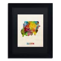 Michael Tompsett 'Sudan Watercolor Map' Black Matte, Black Framed Canvas Wall Art