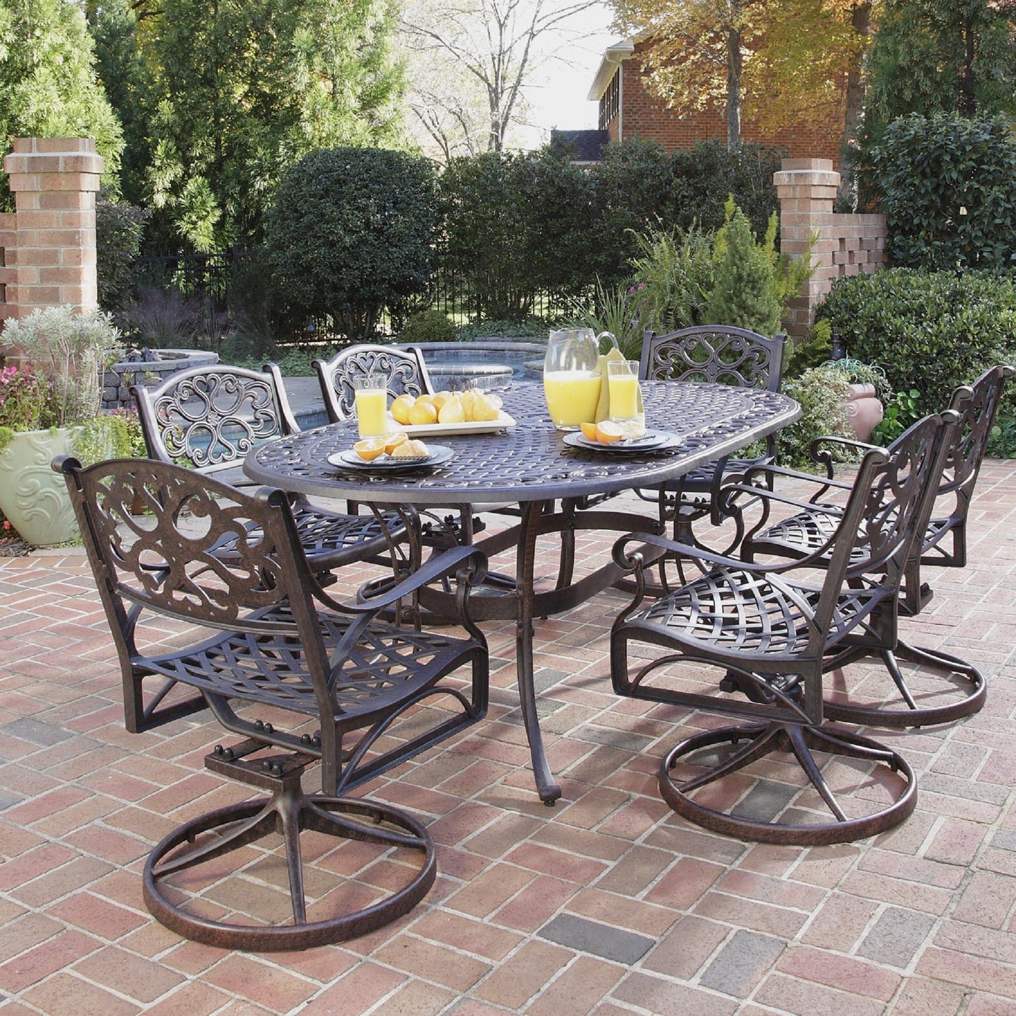 """Gracewood Hollow Rasmussen 7 piece Dining Set 72"""" Oval Table with"""