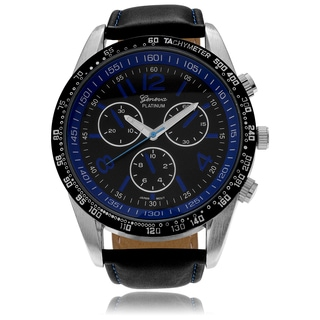 Geneva Platinum Men's Chronograph-style Genuine Leather Strap Watch