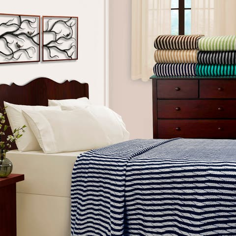Miranda HausAll-season Luxurious 100-percent Cotton Stripe Blankets