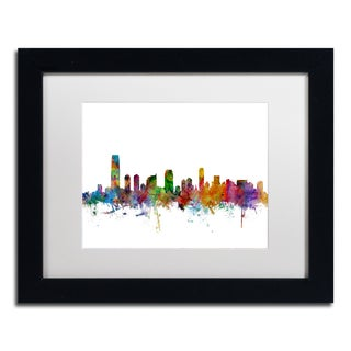 Michael Tompsett 'Jersey City New Jersey Skyline' White Matte, Black Framed Canvas Wall Art