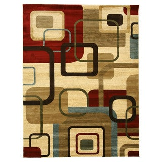 EORC Machinemade Polypropylene Ivory Delora Square Multi Rug (7'10 x 10'6)