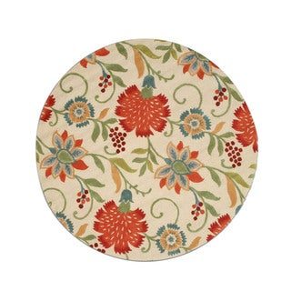 Hand-tufted Wool Ivory Transitional Floral Spring Garden Rug (6' Round)