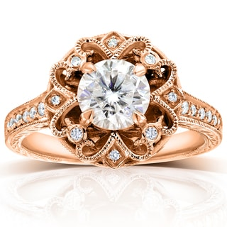 Annello by Kobelli 14k Rose Gold 1 1/5ct TGW Forever One DEF Moissanite and Diamond Antique Floral Extravagant Engagement Ring
