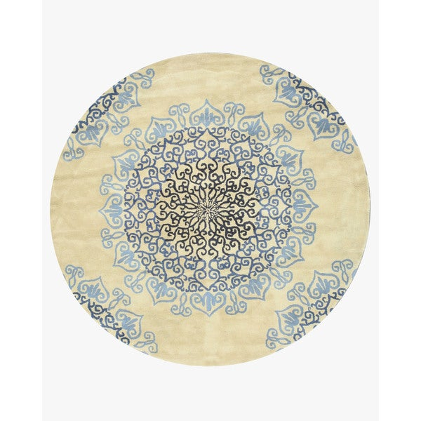 Fine Round Persian Bidjar Area Rug Hand Knotted Wool And: Shop Hand-tufted Wool Ivory Transitional Oriental Modern