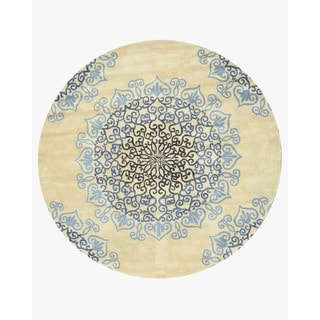 Hand-tufted Wool Ivory Transitional Oriental Modern Naiin Rug (7'9 Round)