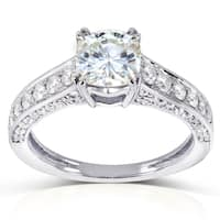 Annello by Kobelli 14k White Gold 1 3/5ct TGW Forever One DEF Cushion Moissanite and Diamond Profile-Accented Engagement Ring