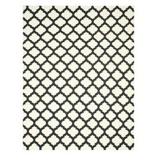 Handmade Wool Black Transitional Trellis Reversible Modern Moroccan Kilim Rug (10' x 14')