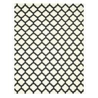 Handmade Wool Black Transitional Trellis Reversible Modern Moroccan Kilim Rug (10' x 14') - 10' x 14'