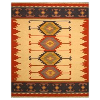 Handmade Wool Ivory Transitional Geometric Keysari Kilim Rug (10' x 14')