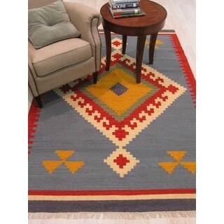 Handmade Wool Blue Transitional Geometric Keysari Kilim Rug (10' x 14')