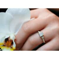 Annello by Kobelli 14k Yellow Gold 1 1/2ct TGW Forever One DEF Cushion Moissanite and Diamond 3 Stone Micro Pave Engagement Ring