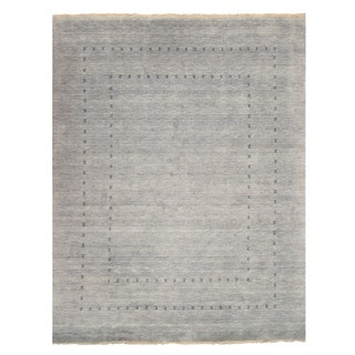 Handmade Wool Gray Traditional Solid Lori Baft Rug - 10' x 14'