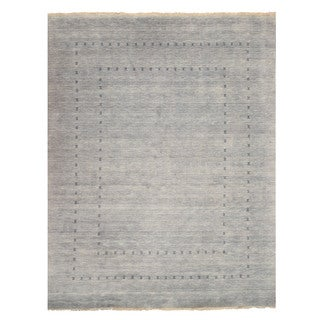 Handmade Wool Gray Traditional Solid Lori Baft Rug (10' x 14')