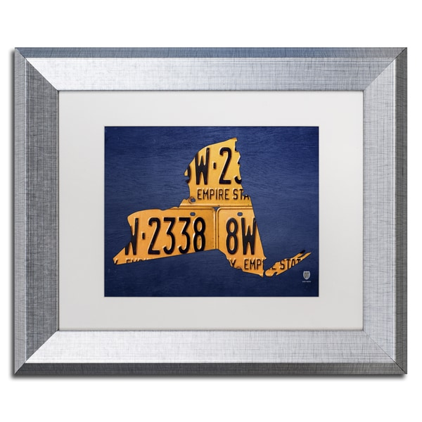 Design Turnpike 'New York License Plate Map' White Matte, Silver Framed Canvas Wall Art