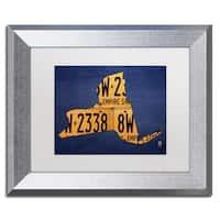 Design Turnpike 'New York License Plate Map' White Matte, Silver Framed Canvas Wall Art