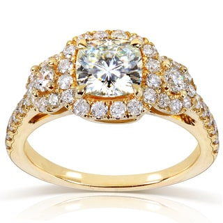 Annello by Kobelli 14k Yellow Gold Forever One Cushion Moissanite and 3/4ct TDW Diamond Engagement R