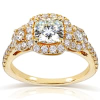 Annello by Kobelli 14k Yellow Gold 1 7/8ct TGW Forever One DEF Cushion Moissanite and Diamond 3-Stone Halo Engagement Ring