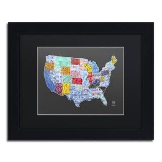 Design Turnpike 'Massive USA License Plate Map' Black Matte, Black Framed Canvas Wall Art