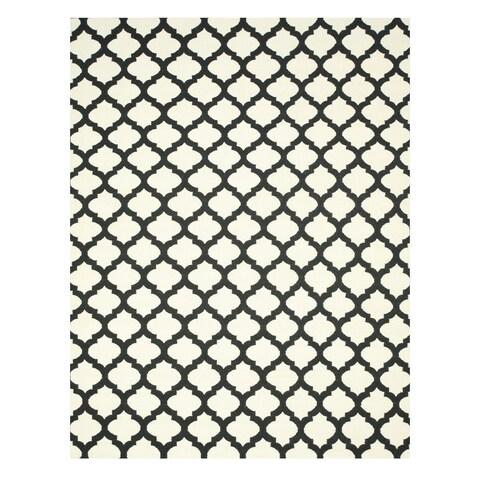 Handmade Wool Black Transitional Trellis Reversible Modern Moroccan Kilim Rug - 9' x 12'