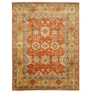 Hand-knotted Wool Rust Traditional Oriental Oushak Rug (8' x 10')