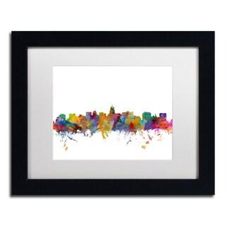 Michael Tompsett 'Madison Wisconsin Skyline' White Matte, Black Framed Canvas Wall Art