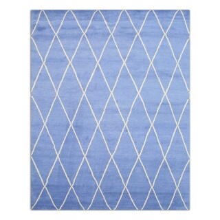 Hand-knotted Wool Blue Transitional Trellis Trellis Moroccan Rug (8' x 10')