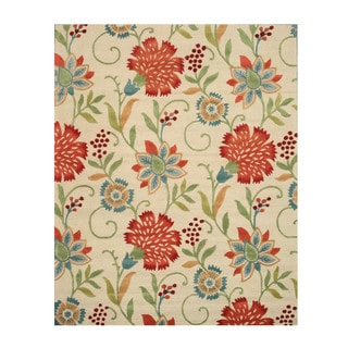 Hand-tufted Wool Beige Transitional Floral Spring Garden Rug (9'6 x 13'6)