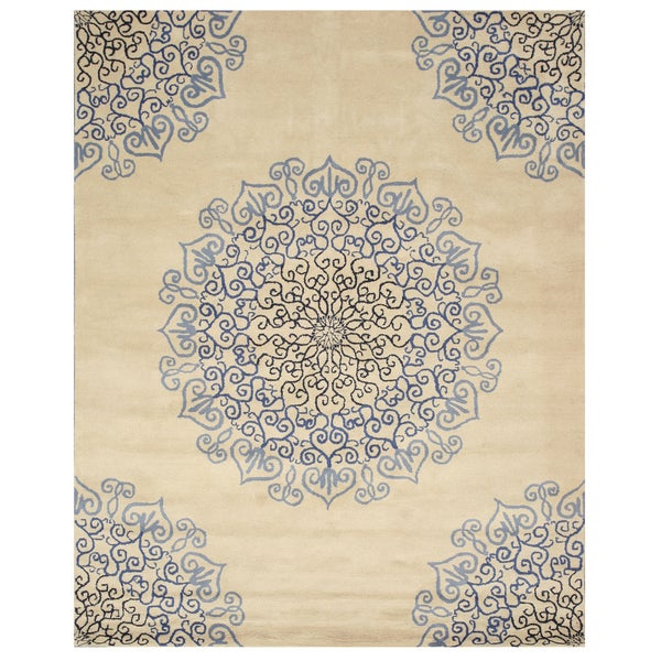 Hand-tufted Wool Ivory Transitional Oriental Modern Naiin Rug - 8'9 X 11'9