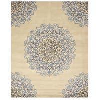 Hand-tufted Wool Ivory Transitional Oriental Modern Naiin Rug (8'9 X 11'9) - 8'9 X 11'9
