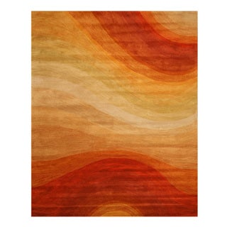 Hand-tufted Wool Orange Contemporary Abstract Desert Rug (9'6 x 13'6)