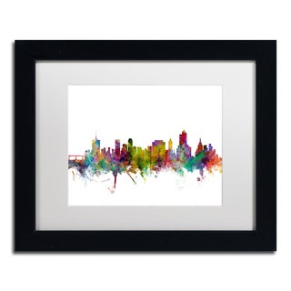 Michael Tompsett 'Tulsa Oklahoma Skyline' White Matte, Black Framed Canvas Wall Art