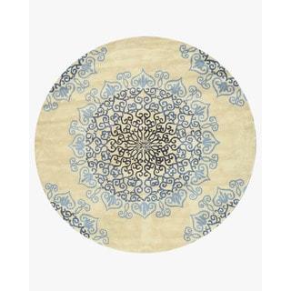 EORC Hand-tufted Wool Ivory Modern Naiin Rug (6' Round)