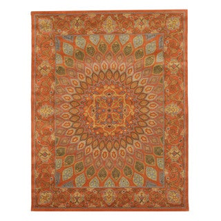 Hand-tufted Wool Rust Traditional Oriental Gombad Rug (7'6 x 9'6)