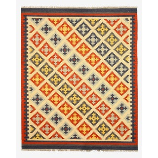 Handmade Wool Ivory Transitional Geometric Keysari Kilim Rug (8' x 10')