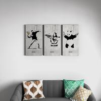 'Banksy 'Flower Thrower, Mona Lisa, Panda Set' Triptych Gallery Wrapped Canvas Wall Art