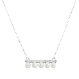 La Preciosa Sterling Silver Cubic Zirconia and Freshwater Pearl Bar Necklace